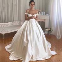 fildişi drape elbise toptan satış-Vintage Dantel Balo Gelinlik 2019 Basit Artı Boyutu Beyaz Kapalı Omuz Düğmeleri Geri Fildişi Draped Saten Gelinlikler Custom Made