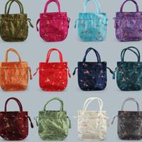 çince nakış hediye poşetleri toptan satış-Sıcak Çin tarzı işlemeli el çantası, düğün hediye paketi, takı Wrap, saklama çantası, katlanır çanta T2C5021