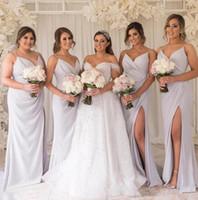 Wholesale lilac beach wedding dresses resale online - 2019 Sexy Long Lilac Bridesmaid Dresses Deep V Neck Empire Split Side Floor Length spaghetti Beach chiffon Boho Wedding Guest Dresses