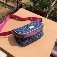 büyük boy tasarımcı kot toptan satış-Tasarımcı çanta Mavi kot pembe sapanlar ile boyutu 25 * 13 * 12 Çapraz çanta çanta Büyük iç kapasite moda çanta