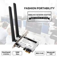 wifi pci e toptan satış-dapter wi-fi Masaüstü Çift bant 867Mbps 802.11ac Intel 7260 AC1200 Kablosuz PCI-E Wifi, Bluetooth Kart PCI Express Anten Adaptörü Wifi + BT ...
