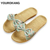 b71a91071 Wholesale butterfly flip flops for sale - YOUROKANG Women Linen Slippers  Summer Home Shoes Cute Butterfly