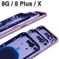iphone milieu couverture arrière achat en gros de-Pour le nouveau couvercle de la batterie 8G X Pour iphone 8 8 Plus 8P ix X Couverture arrière + Châssis du châssis moyen + Carte SIM Boîtier complet
