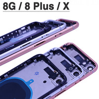 iphone arka çerçeve dolu toptan satış-Yeni 8G X Pil Kapağı için iphone 8 8 Artı 8 P ix X Arka Kapak + Orta Şasi Çerçeve + SIM Kart Tam Konut Case Meclisi