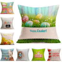 Wholesale pillow slips resale online - Easter Pillow Case Throw Cushion Covers Linen Simple Decorative Pillow Case slip Easter Fesitival Home Decor Gifts styles XD21417