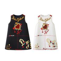 vestidos florais bonitos do bebé venda por atacado-Roupa MMA1994-1 crianças roupas vestidos bonitos do bebé elegante designer floral impresso vestido sem mangas saia de luxo do bebé coração