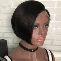 ingrosso pizzo nero opaco-Di alta qualità fibra chimica merletto della parte anteriore BOBO stile Nero opaco breve copricapo rettilineo parrucca capelli delle donne onda testa simulato parrucche dei capelli umani