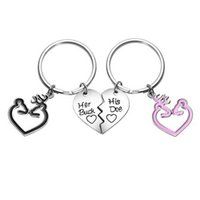 Wholesale recording keychains for sale - Group buy Her Buck His Doe Couples Gift Heart Puzzle Dog Tag Key Chain BFF s Necklaces Keychain