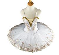 traje de ballet de tutu blanco al por mayor-Bailarina profesional blanco ballet tutu para niños niños niños niñas adultos pancake tutu trajes de baile ballet dress girls