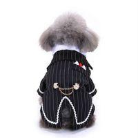 esmoquin rayado al por mayor-Caballero ropa para mascotas traje de perro esmoquin de rayas pajarita de la boda vestido formal para perros traje de Navidad de Halloween gato divertido disfraz