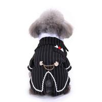 костюм для новогоднего кота оптовых-Джентльмен Pet Одежда Костюм Собаки Полосатый Смокинг Галстук-Бабочку Свадебное Вечернее Платье Для Собак Хэллоуин Рождественский Наряд Кошка Смешной Костюм
