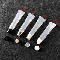 Wholesale empty lipstick container plastic for sale - Group buy 8g g Empty Lipstick Tube Lip Balm Soft Hose Makeup Squeeze Sub bottling Clear Plastic Lip Gloss Container F606