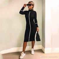 casual clothing apparel 도매-여성 디자이너 Bodycon Dresses 스탠드 칼라 Long Sleeve Mid Calf Apparel 여성 여름 가을 캐주얼 의류