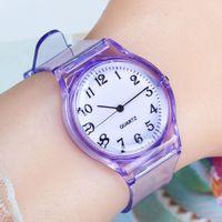 relógios de moda de plástico venda por atacado-LinTimes Mulheres Homens Amantes Relógios Moda Transparente Doce Cor Plastic Band Casual Quartz Relógios