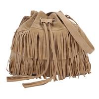 kuriertasche über großhandel-1woMen Messenger Across Bags Umhängetasche aus Wildleder mit großem Fassungsvermögen und gefranstem Eimer und Quaste