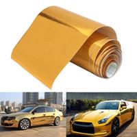 vinylfolie chrom großhandel-5 Stücke Gold Golden Chrome Spiegel Vinyl Wrap Film Auto Aufkleber Blase Frei Air Release DIY Auto Styling 10x150 cm