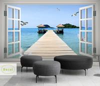 смотреть в прямом эфире оптовых-Bacal Custom 3D Photo Wallpaper Balcony Sandy Sea Outside View Living Room Bedroom TV Background Wall Mural Wallpaper 5D Decor