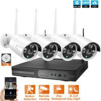 Wholesale 4CH 1080P CCTV System Wireless NVR 4PCS 2.0MP IR Outdoor P2P Wifi IP CCTV Security Camera System Surveillance Kit