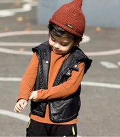 Wholesale pu jackets for children resale online - Boys PU Vest Winter Kid Boy Waistcoat Children Outerwear Fashion PU Jacket Baby Girl Clothes Kids Boys Clothing For year