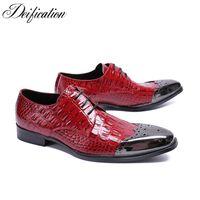подлинная кожа крокодила печать оптовых-Red Square Toe Men Dress Shoes Genuine Leather Crocodile Print Lace Up Men Wedding Shoes Brogue Party zapatos de hombre