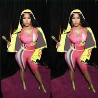 ingrosso corsetto di colore corporeo-Luxury Women Designer Camisole Tuta Color Matching Stripe Corset Vest + Biker Shorts 2 pezzi Sexy Sport Outfit Marca Body C7105