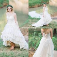 Wholesale 18w sweetheart empire wedding dress resale online - 2019 Bohemian High Low Country Wedding Dresses Sweetheart Lace Appliques Lace Up Back Tiered Skirt Garden Bridal Gowns Vetisdos Novia
