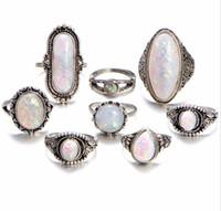 erkekler için taklit yüzükleri toptan satış-40 adet / grup karışık Moda Takı karışık İmitasyon Opal Alaşım metal Yüzükler takı Kadın Erkek Için