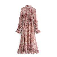 gefaltete krawatten großhandel-Vintage Blumendruck Schärpen Rüschen Plissee Kleid Frauen Mode Fliege Kragen Langarm Kleider Casual Vestidos Mujer