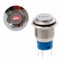 ingrosso pulsante 19mm-1Pc 19mm LED blu / rosso / verde Accensione / spegnimento momentaneo Pulsante clacson Pulsanti in metallo Interruttore illuminato 12V qyh
