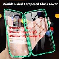 металлические флип-чехлы оптовых-Магнитная Адсорбция металла Флип мобильный телефон Чехлы для iPhone 11 Pro Max X 7 8Plus XS MAX XR Case Clear Двухсторонний закаленного стекла