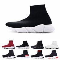 pisos para hombres al por mayor-balenciaga sock  shoes Diseñador calcetines zapatos para hombres mujeres Speed Trainer de lujo negro blanco rojo brillo plana moda para hombre entrenadores Runner tamaño 36-46