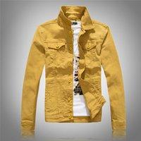 ingrosso abbigliamento giubbotto giallo-Giacche di jeans da uomo di alta qualità Giacche di jeans moda slim fit casual Streetwear Vintage Mens Jean Clothing Plus Size M-3XL
