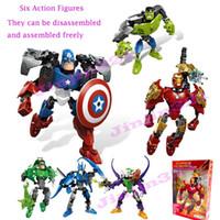 anime maravilla al por mayor-6 Estilos Vengadores Figuras de Acción Muñeca Marvel Super Heroes DIY bloques de creación desmontado y montarse libremente nueva combinación de cifras