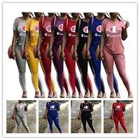 en iyi spor jogger pantolon toptan satış-Kadın Şampiyonlar Tişörtleri Eşofman Yuvarlak Boyun T gömlek Tops + Uzun Pantolon 2 Parça Spor Artı boyutu Mektup Kıyafet Spor Jogger Set B3293