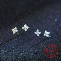 winzige blumen großhandel-925 Sterling Silber cz Stein gepflastert kleine Blumenmädchen Ohrstecker für Silber Gold Mini Ohrstecker Hochzeitsgeschenk