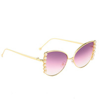 Wholesale quality sunglasses china resale online - ACB07 Pearl Decoration Women Cat Eye Smoke Sunglasses Fashion Mirror Coating China Glasses Factory Quality UV400 EYEWEAR US
