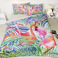ingrosso copriletti verdi queen size-Flamingo Bed Twin Bed In a Bag Copripiumino foglia di banana Copripiumini Queen Forest Green Queen Size Fenicottero rosa