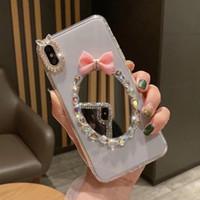 caja del teléfono mariposa negro al por mayor-Fashion Clear Black PC Phone Case Espejo Bowknot Diamond Shell Shell Mariposa Cubiertas para iPhone 7 8PLUS XR X MAX