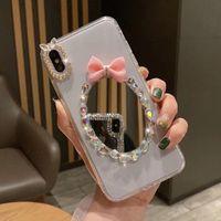 capa de telefone preta da borboleta venda por atacado-Moda limpar black pc phone case espelho bowknot diamante shell telefone borboleta bling covers para iphone 7 8plus xr x max