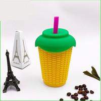Wholesale anti mug resale online - 300ML Corn Mugs Silicone Heat Insulation Anti Scalding Cups Tumbler No Straw Outdoor Portable Articles qc UU
