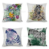 Wholesale zebra print sofas for sale - Group buy New Pattern Zebra Flax Pillow Imitate Hold Ma Pillow Case Automobile Sofa Back Cushion Cushion Fashion Pillow