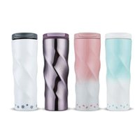 Wholesale cold steel camp resale online - Stainless Steel Spiral Cup Double Wall Vacuum Cold Hot Coffee Mug Sport Water Flask with Flip Lid Coffee Cup Cherry Car Cup ZZA337