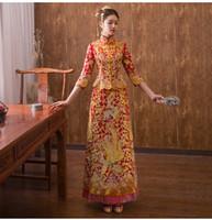 rote chinesische kleidung großhandel-Chinesisches traditionelles Hochzeitskleid Cheongsam Long Qipao Red Strass Oriental Style Kleider China Clothing Store Vestido Chino