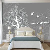 Wholesale wall art birds resale online - Custom non woven abstract tree bird art pattern wallpaper TV background living room household decor simple modern murals Wall cloth