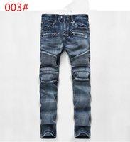 mavi tulum erkek toptan satış-Ünlü Marka Tasarımcısı Erkekler Kot Yırtık Kot Mavi Kaya Yıldız Erkek Tulum Tasarımcı Denim Erkek Pantolon 003 #