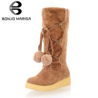 0c2fe079560 BONJOMARISA New Big Size 34-43 Elegant Mid Calf Snow Boots Ladies Add Fur  3cm Low Wedges Winter Boots Female Shoes Woman