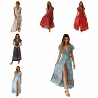 03c9b6ab983e Women Floral Print Beach Dresses Lady Travel Party Bohemia Dresses Summer  Holiday Sexy Long Dress Elegant Clothing TTA629