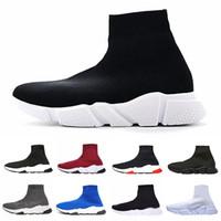 correr corridas venda por atacado-Designer de luxo Meia Sapato Trainer Velocidade Running Sneakers Speed Trainer Meia Corredores de Corrida preto Sapatos homens e mulheres Esportes Sneaker 36-46