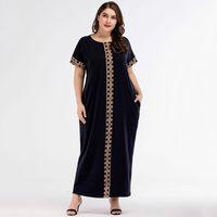 vestido muçulmano casual venda por atacado-Casual impressão maxi dress knitted muçulmano abaya completo skrit solto quimono longo robe vestidos ramadan médio oriente árabe islâmico clothing