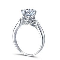 14k 585 diamantring großhandel-Wunderschöne 3 Karat ct DEF Color Lab Grown Moissanite Diamant Ring Halo Verlobung Ehering 14K 585 Weißgold C18122701